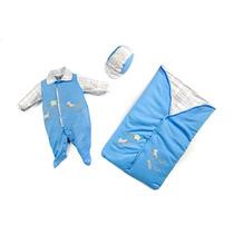 Saída Maternidade Suedine Azul Reve Dor - Rn
