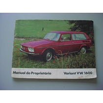 Manual Proprietario Volkswagen Variant Frente Baixa 71 72