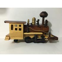 Miniatura Madeira Retro Vintage Trem Locomotiva Maria Fumaça