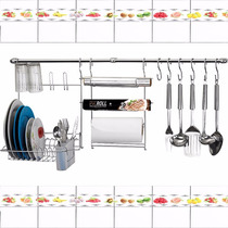 Cook Home C/11 Pç Porta Rolo Papel + Escorredor Copos Pratos