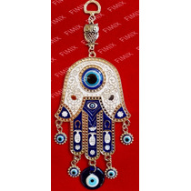 Amuleto Hamsá C/ Coruja E Olhos Gregos Chamsá Mão De Deus