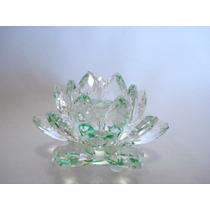 Flor De Lótus De Cristal Transparente Verde 9cm