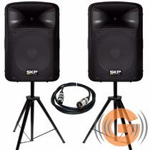 Par Cx Atv Skp Sk 4p 500w Sk4p + Tripés + Cabo Goiás Musical