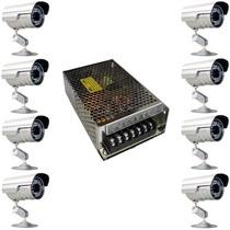 Kit 8 Câmeras De Vigilância E Fonte De Alimentação 12v 10a