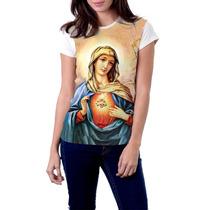 Camiseta Babylook Imaculado Coração De Maria Católica