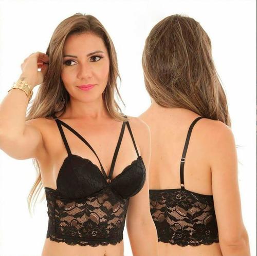 fc70f2c49 Cropped Renda Sutian Top Blusa Feminina Strappy Bojo Moda à venda em ...