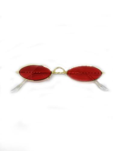 aa0b665ffddbd Oculos Oval Fino De Sol Pequeno Lente Vermelha Estiloso