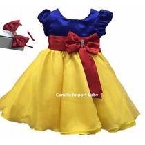 Vestido De Festa Infantil Luxo Branca De Neve E Tiara
