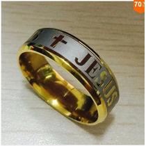 Anel Biblia Escrito Jesus Com Cruz Banhadoa Ouro 18k