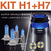 Kit Lâmpada Super Branca H1 + H7 Tipo Xenon 8500k +pingo Led