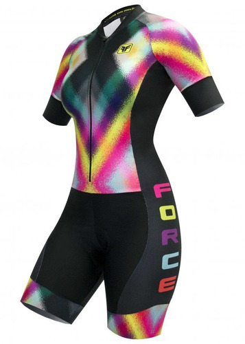 dabbf16b9 Macaquinho Ciclismo Feminino Dotted Preto Free Force