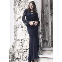 Vestido Longo Moda Evangélica Em Renda Preto Tamanho 44