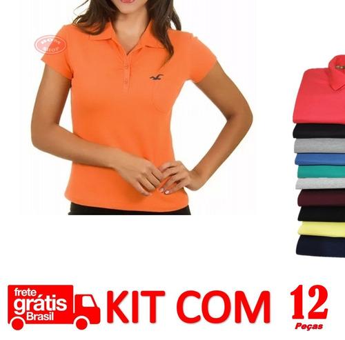 Camisas Gola Polo Feminina Atacado Kit 12 Camisas Revenda 1bf375825400b