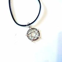 Conjunto Colar E Brincos Pentagrama Wicca - Gótico Rock 3 Cm