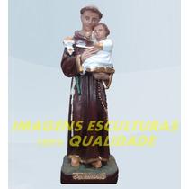 Escultura Santo Antonio Linda Imagem 60cm Frete Gratis