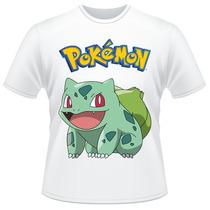 Camiseta Infantil Pokemon Bulbasaur Anime Desenho Camisa