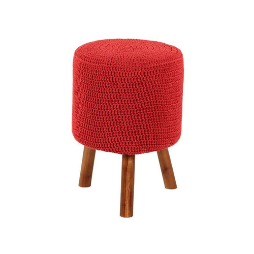 Banco Round Crochê Pé Madeira Vermelho E Mel