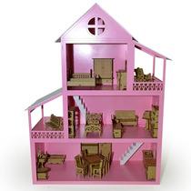 Casa Para Boneca Polly Grande - 80x40x60 Mobiliada - Mdf