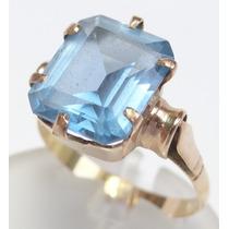 Feliz Joias - Anos 50/60 - Topázio Azul Em Anel De Ouro Rosé