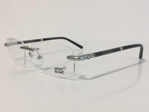 96a87c0d61949 Armação Óculos Sem Aro Mont Blanc 492 Prata Linda
