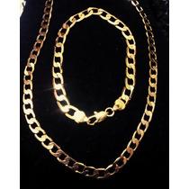 Cordão Corrente+pulseira Masculino Aço Inoxidável Dourado