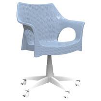 Cadeira Office Para Escritório Azul De Rodízio Pé Giratório