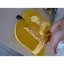Chinelos Bordados (pérola Amarelo Neon)ref.0010