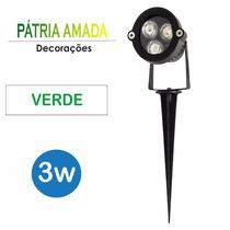 Luminaria Espeto De Led Para Jardim 3w Verde Ip65 3026