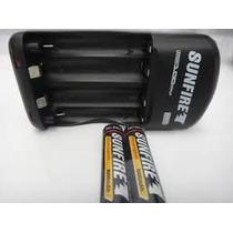 Carregador Pilhas Sunfire Com Grátis 2 Pilhas Aaa Ni-mh +