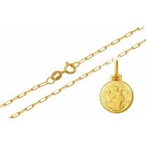 Medalha São Bento Com Corrente De Ouro 18k Com Certificado