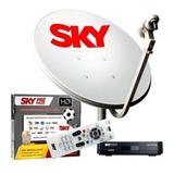 Receptor Sky Pré Pago Livre 2 Anos + Antena Ku Duplo + Cabos