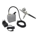 Kit Completo Aerografia Mini Compressor Ar + Aerógrafo 0,3mm