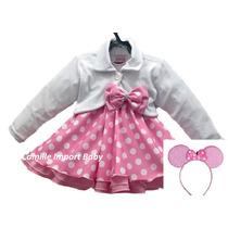 Vestido Fantasia Infantil Festa Minnie Rosa Bolero E Tiara