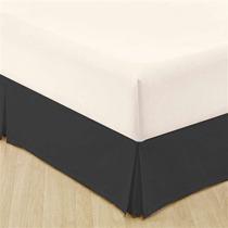 Saia Box Solteiro Plus Com Pregas Preto