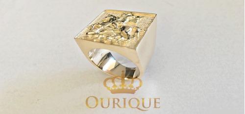 a0b3a66ee15a7 Anel Masculino Grande São Jorge De Ouro 18k 750 Com Diamante