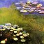 Flores Aquáticas Lilies Lago Jardim Pintor Monet Tela Repro