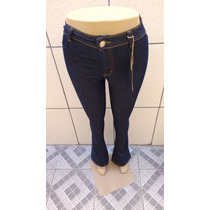 Calça Jeans Cintura Alta Hot Pants Flare Boca De Sino