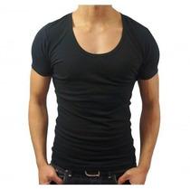 Camisa Básica Slim Gola Canoa Masculina Viscose Com Elastano
