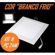 Kit 8 Painel Plafon Luminaria Led Embutir Branco Frio 24w