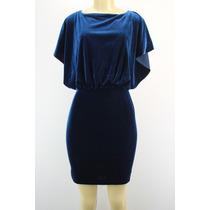 Jessica Simpson Sem Mangas Veludo Velour Vestido Escuro Azul