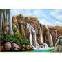 Quadro Paisagem Cachoeiras Pintura Óleo Sobre Tela 50x70cm