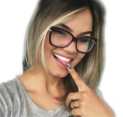eaf8ba136e8fb Armação De Grau Feminino Gatinho Blogueira Frete + Brinde à venda em ...
