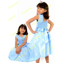 Vestido Infantil Princesas Cinderela Elsa Frozen Mod. Luxo