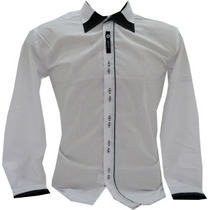 Camisa Social Cores Branca E Rosa