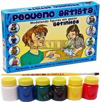 Molde Figura Gesso Brinquedo + Guache + Pincel - Gatos