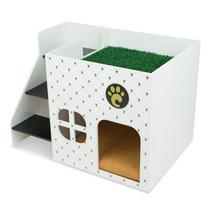 Casinha Para Cachorros Branca Com Escada 7008 - Carlu