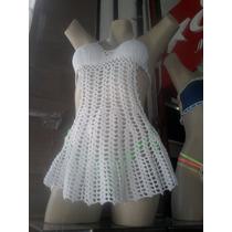 Saida De Praia Blusa Vestido Crochê Branco + Frete Grátis