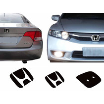 Par Aplique Preto Emblema New Civic 06 A 11 Traseiro Frontal