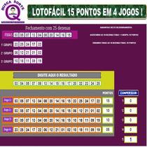 Lotofácil 15 Pontos Em  4 Jogos ( Planilha Especial)