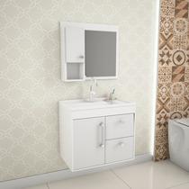 Balcão Gabinete De Banheiro Chromo 602 Branco Com Lavatório